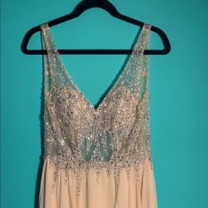 Champagne Beaded Prom Dress